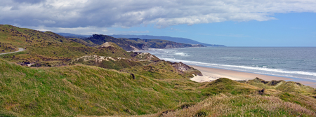 inlet: Rugged West Coast South Island Seascape from Westhaven Inlet, New Zealand Stock Photo