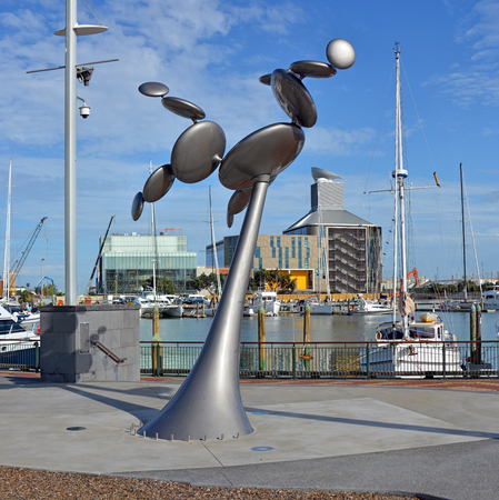 kinetic: Modern Kinetic Steel Wind Sculpture in Viaduct Harbour, Auckland, New Zealand Editorial