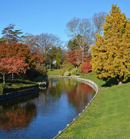 vale: Mona Vale gardens and the Avon River in Autumn, Christchurch New Zealand