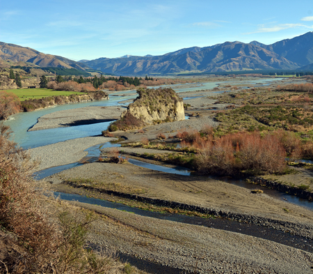 The upper reaches of the Waiau River in Winter - famous for jet boating, fishing and white water rafting. Nouth Canterbury, New Zealand. Stock Photo