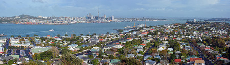 royalty free: Panoramic view from Mount Victoria, Devonport towards Auckland City & The Harbour Bridge in the background - Royalty Free.