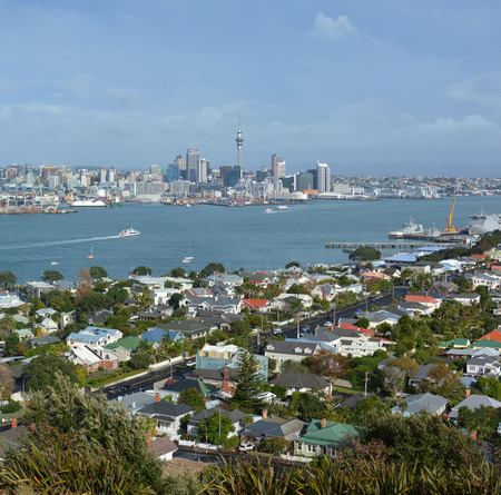 royalty free: View from Mount Victoria, Devonport towards Auckland City in the background with copy space. Royalty Free, New Zealand. Stock Photo