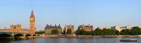 Big Ben & Victoria Embankment Panorama with Westminster Bridge, London UK.