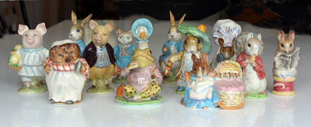 Collection of Collectable Beswick Beatrix Potter Figurines from the 1948 to 1954 period with Gold Circle stamps. Includes Little Pig Robinson, Jemima  Puddle-duck, Hunga Munga, Tailor of Gloucester, Lady Mouse, Benjamin Bunny, Peter Rabit, Pigling Bland,