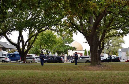 Christchurch, New Zealand - March 18, 2019; Christchurch Mosques Massacre - View of Al Noor Mosque Linwood Avenue where majority of dead were shot.