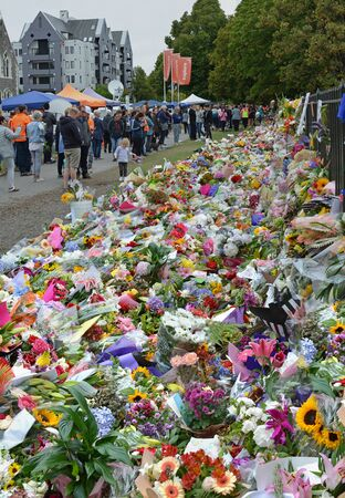 Christchurch, New Zealand - March 18, 2019; Floral tribute to the 50 people shot and killed at two Mosques on March 15, 2019 in Christchurch New Zealand.