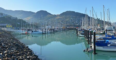 Lyttelton Marina & Town Panorama with reflections on a Winter Morning in Christchurch, New Zealand
