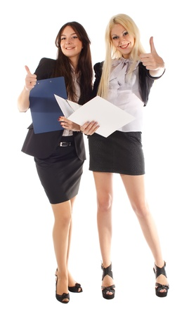 Two businesswoman with the advisor and the laptop on the white background  photo