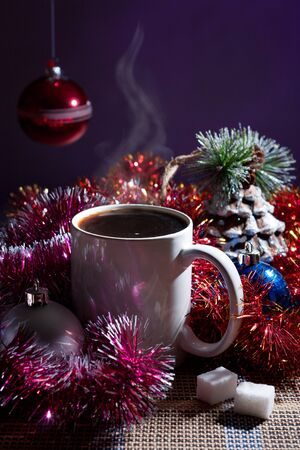 winter still life with coffee and Christmas decorations photo