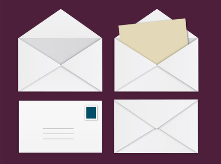 Front and back of envelope vectors Иллюстрация