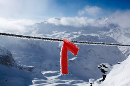 avalanche: Red warning avalanche strip in Tignes, French alps Stock Photo