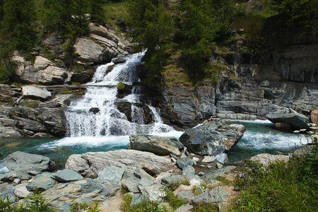 aosta: Lillaz waterfall cascades near Cogne, Aosta Valley, Alps, Italy