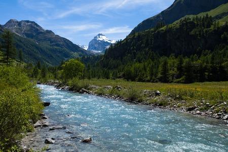 aosta: River in Rhemes Notre Dame valley along the trekking path, Aosta valley, Alps, Italy Stock Photo