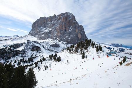 gardena: Saslong mountain peak in winter in Dolomiti, Val Gardena, Italy