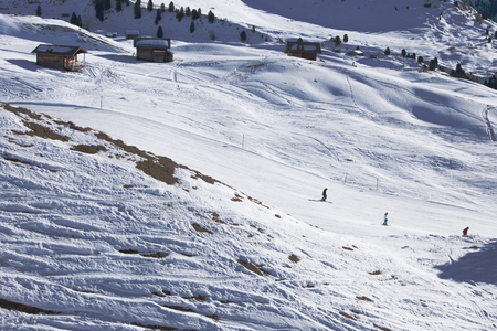 raiser: Skiers pass through the skiing valley on Col Raiser, Dolomites, Italy