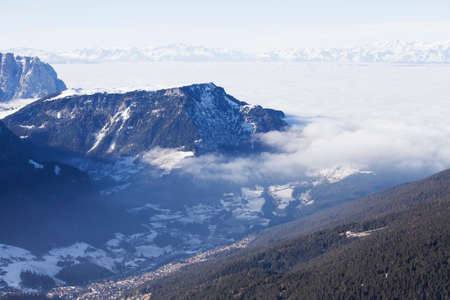raiser: Ortisei valley in Dolomiti Alps, view from the top, Italy