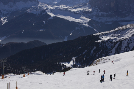 raiser: Ski slope with a view to Santa Cristina valley, Dolomites, Italy Stock Photo