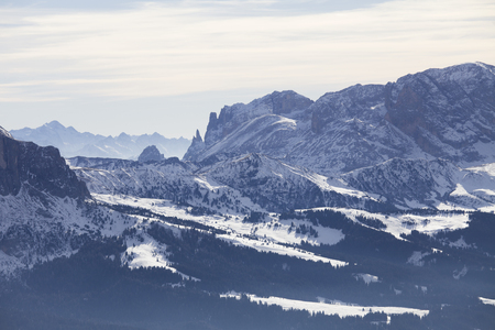 selva: Sasslong mountain covered in snow, Dolomites, Italy