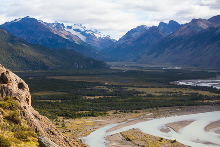 Vueltas river valley near El Chalten, Argentina Stock Photo