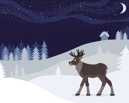 aurora borealis: illustration a reindeer and a winter night