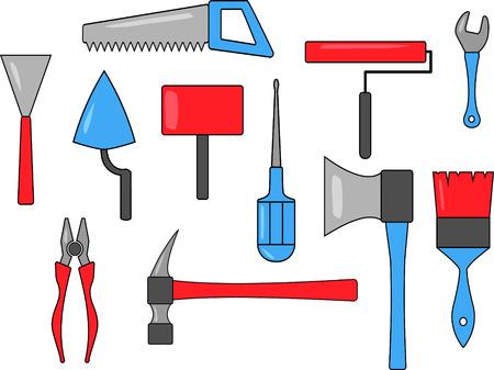Set of multicolored tool icons. Saw, screwdriver, trowel, hammer, adjustable wrench, paintbrush, sledgehammer, ax, pliers, roller, trowel Ilustração