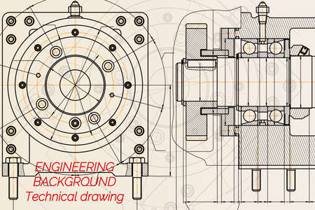 Mechanical engineering drawings on light background. Milling machine spindle. Technical Design. Cover. Blueprint.