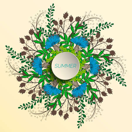 Summer floral background in the form of a wreath of cornflowers and green leaves. For the design of postcards, brochures, flyers.