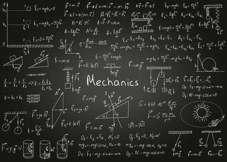 Physics formulas drawn by hand on a black chalkboard for the background. Vector illustration. Vetores