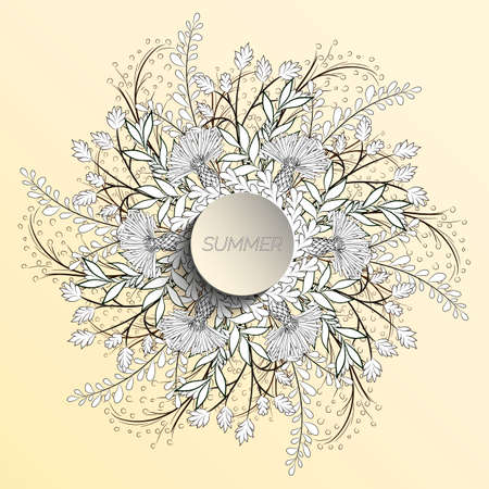 Summer floral background in the form of a wreath of cornflowers and leaves. For the design of postcards, brochures, flyers. Coloring page.