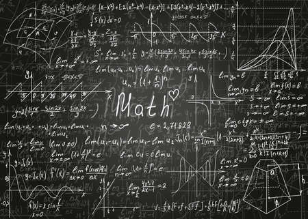 Mathematical formulas drawn by hand on a black unclean chalkboard for the background. Vector illustration.