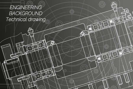 Mechanical engineering drawings on black background. Milling machine spindle. Technical Design. Cover. Blueprint.