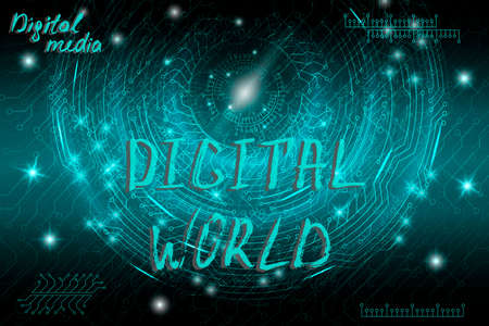 Blue futuristic technological background in cyberpunk style. Digital art. The inscription is painted by hand with brush. Lettering for design of postcards, poster, banner. Vector illustration. Vector Illustratie