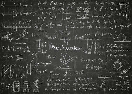 Physics formulas drawn by hand on a black unclean chalkboard for the background. Vector illustration. Ilustración de vector