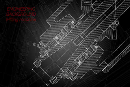 Mechanical engineering drawings on black background. Milling machine spindle. Technical Design. Cover.