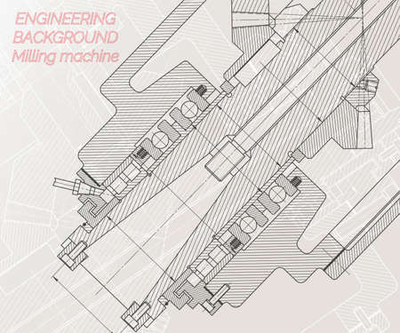 Mechanical engineering drawings on light background. Milling machine spindle. Technical Design. Cover. Vector illustration.