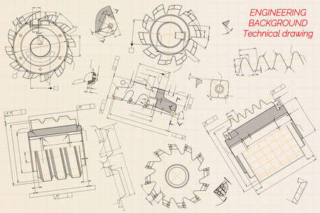 Mechanical engineering drawings on beige technical paper background. Cutting tools, milling cutter. Industrial Design. Cover. Blueprint. Business business. Vector illustration.