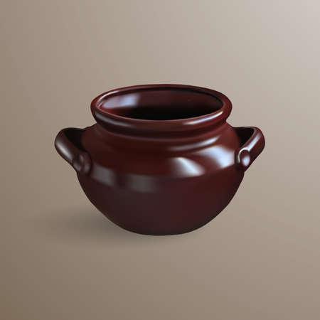 Realistic brown clay pot. 3D mesh vector.