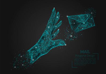 Abstract isolated image of human hand sending letter. Polygonal illustration looks like stars in the blask night sky in spase or flying glass shards. Digital design for website, web, internet.