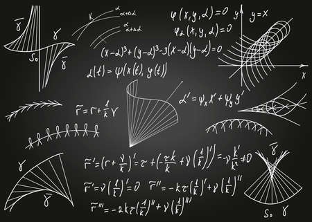 Mathematical formulas drawn by hand on the black chalkboard for the background. Vector illustration. Vektorové ilustrace