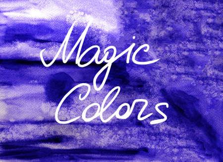 slur: Purple watercolor background with lettering Magic colors Stock Photo