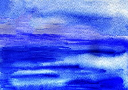 smirch: Blue watercolor background. Textured watercolor background with salt spots.