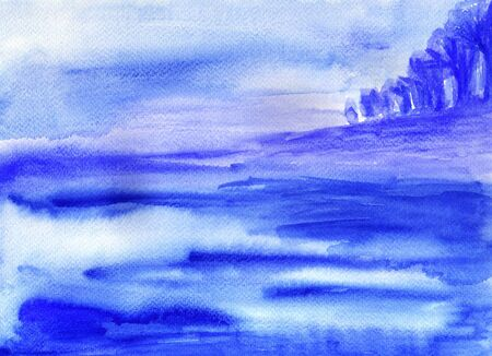 slur: Watercolor landscape with sea and coast.