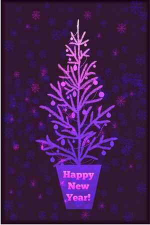 decorated christmas tree: Decorated christmas tree on abstract background with snowflakes.