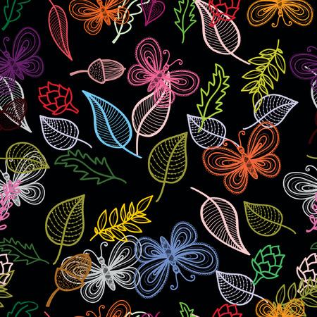 ハーブや花をモチーフにした装飾的なシームレス パターン ベクトル