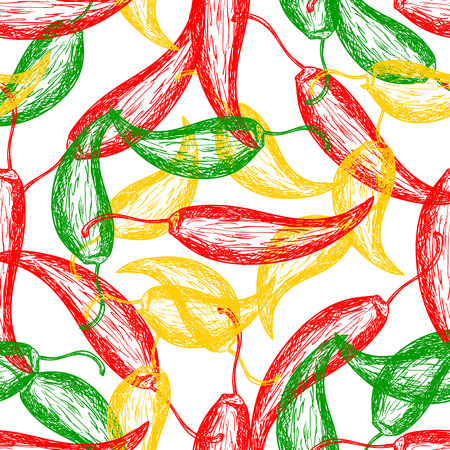 Seamless pattern with hot chilli pepper vector design