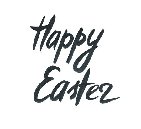 Happy Easter hand written words on white background Stock Photo