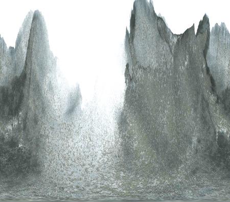 Landschap met bergen en zee. Inkt schilderij.