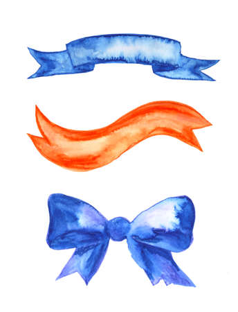 Collection of hand drawn ibbons, pennants, bows, design elements