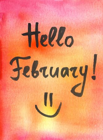 Hello february winter watercolor hand drawn card