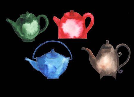 kettles: Teteras, vasos, teteras de té en diferentes colores. Pintura de acuarela